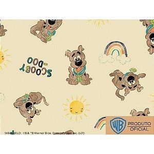 Tricoline Personagem Scooby Doo Sol Fundo Bege, 100% Algodão, Unid. 50cm x 1,50mt