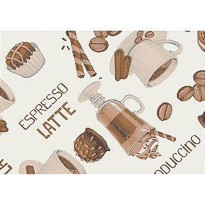 Tecido Tricoline Espresso Latte Fundo Claro, 100% Algodão, Unid. 50cm x 1,50mt