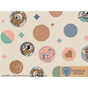 Tricoline Personagem Tom e Jerry Fundo Bege, 100% Algodão, Unid. 50cm x 1,50mt