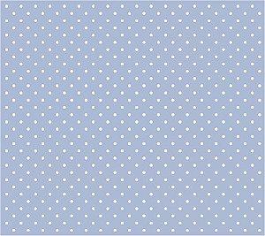Tricoline Poá Pequeno (Branco Fundo Azul Claro), 100% Algodão, Unid. 50cm x 1,50mt