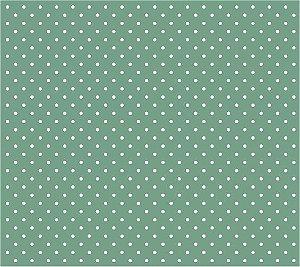 Tricoline Poá Pequeno (Branco Fundo Verde Esmeralda), 100% Algodão, Unid. 50cm x 1,50mt