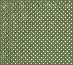 Tricoline Poá Pequeno (Branco Fundo Verde Oliva), 100% Algodão, Unid. 50cm x 1,50mt