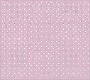 Tricoline Poá Pequeno (Branco Fundo Rosa Bebê), 100% Algodão, Unid. 50cm x 1,50mt