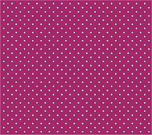 Tricoline Poá Pequeno (Branco Fundo Pink), 100% Algodão, Unid. 50cm x 1,50mt