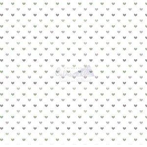 Tricoline Corações Amor - Cor 13 (Verde / Cinza), 100% Algodão, Unid. 50cm x 1,50mt