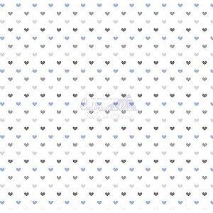 Tricoline Corações Amor - Cor 12 (Azul / Cinza), 100% Algodão, Unid. 50cm x 1,50mt