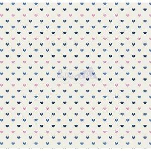 Tricoline Corações Amor - Cor 11 (Royal / Marinho / Rose), 100% Algodão, Unid. 50cm x 1,50mt