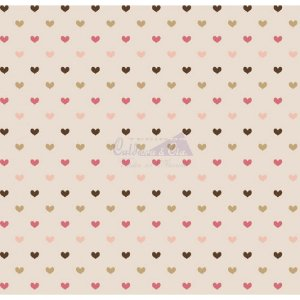 Tricoline Corações Amor - Cor 08 (Marrom / Rose / Bege), 100% Algodão, Unid. 50cm x 1,50mt