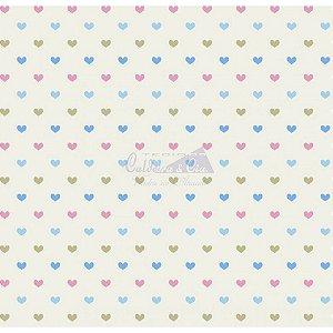 Tricoline Corações Amor - Cor 03 (Azul / Rosa / Verde), 100% Algodão, Unid. 50cm x 1,50mt