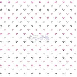 Tricoline Corações Amor - Cor 02 (Rosa / Cinza), 100% Algodão, Unid. 50cm x 1,50mt