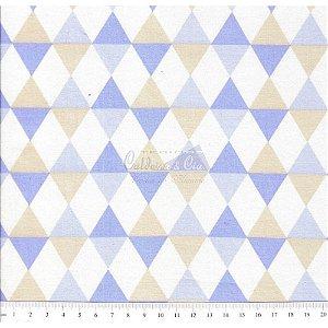 Tricoline Estampado Balão - Cor 01 (Bege com Azul), 100% Algodão, Unid. 50cm x 1,50mt