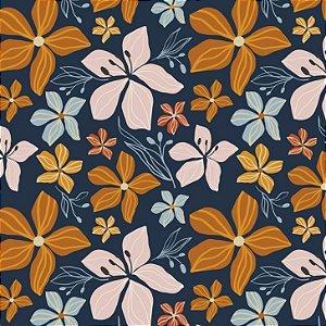 Tricoline Big Fall Flowers in Blue 100%Algod, 50cm x 1,50m