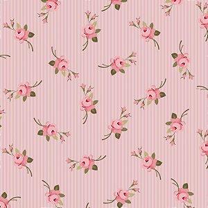 Tricoline Botão Listrado Rosa, 100% Algodão, 50cm x 1,50mt