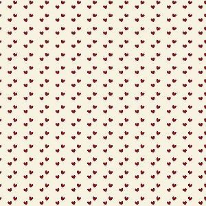 Tricoline Mini Corações Vermelho, 100% Algodão, 50cm x 1,50m