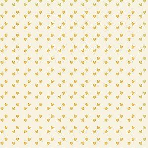 Tricoline Mini Corações Amarelo, 100% Algodão, 50cm x 1,50mt