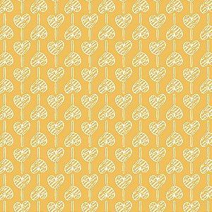 Tricoline Pirulito de Corações Amarelo, 50cm x 1,50mt