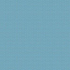 Tecido Tricoline Poá Azul Campestre, 100% Alg, 50cm x 1,50mt