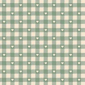 Tricoline Mini Corações no Xadrez Verde Chá, 50cm x 1,50mt
