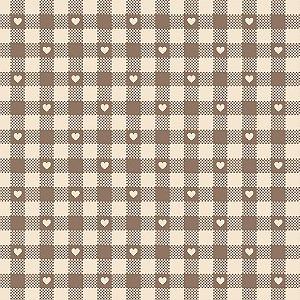 Tricoline Mini Corações no Xadrez Castanho, 50cm x 1,50mt