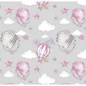 Tricoline Estampado Ballon - Cor-02 (Cinza com Rosa), 100% Algodão, Unid. 50cm x 1,50mt