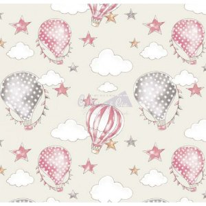 Tricoline Estampado Ballon - Cor-01 (Creme com Rosa), 100% Algodão, Unid. 50cm x 1,50mt