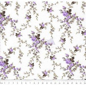 Tricoline Estampado Floral Sarah - Cor-54 (Lilás com Marrom) , 100% Algodão, Unid. 50cm x 1,50mt