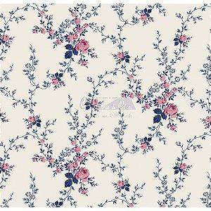 Tricoline Estampado Floral Sarah - Cor-59 (Rosa com Marinho) , 100% Algodão, Unid. 50cm x 1,50mt
