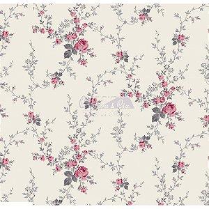 Tricoline Estampado Floral Sarah - Cor-58 (Rosa com Cinza) , 100% Algodão, Unid. 50cm x 1,50mt