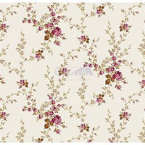 Tricoline Estampado Floral Sarah - Cor-57 (Rosé com Kaki) , 100% Algodão, Unid. 50cm x 1,50mt