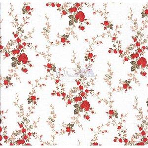 Tricoline Estampado Floral Sarah - Cor-55 (Vermelho com Marrom) , 100% Algodão, Unid. 50cm x 1,50mt