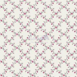 Tricoline Estampado Floral Valentina - Cor-04 (Cinza com Rosa) , 100% Algodão, Unid. 50cm x 1,50mt