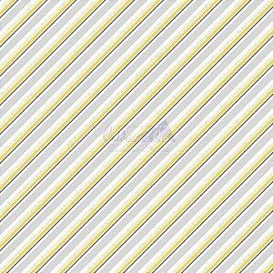 Tricoline Listrado Diagonal Bianca - Cor-07 (Amarelo) , 100% Algodão, Unid. 50cm x 1,50mt