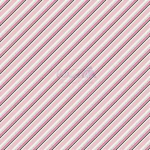 Tricoline Listrado Diagonal Bianca - Cor-03 (Rosé) , 100% Algodão, Unid. 50cm x 1,50mt