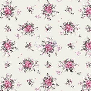 Tricoline Estampado Floral Yasmim - Cor-04 (Rosa com Cinza) , 100% Algodão, Unid. 50cm x 1,50mt