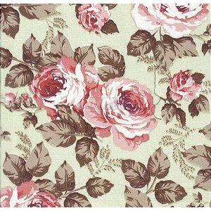 Tricoline Estampado Floral Jamile - Cor-04 (Verde com Rosé) , 100% Algodão, Unid. 50cm x 1,50mt