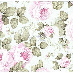 Tricoline Estampado Floral Jamile - Cor-03 (Verde com Rosa) , 100% Algodão, Unid. 50cm x 1,50mt
