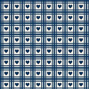 Tricoline Corações Quadriculados Azul Antigo, 50cm x 1,50m