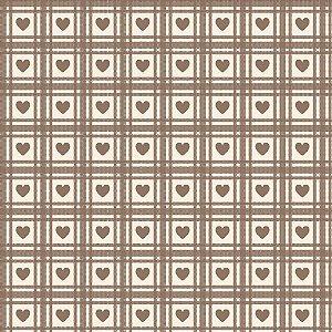 Tricoline Corações Quadriculados Castanho, 50cm x 1,50m