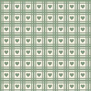 Tricoline Corações Quadriculados Verde Chá, 50cm x 1,50mt