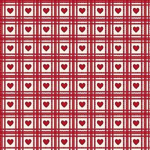 Tricoline Corações Quadriculado Vermelho Antigo 50cm x 1,50m