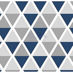 Tricoline Estampado Geométrico Margot - Cor-14 (Marinho com Cinza), 100% Algodão, Unid. 50cm x 1,50mt