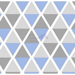 Tricoline Estampado Geométrico Margot - Cor-12 (Azul com Cinza), 100% Algodão, Unid. 50cm x 1,50mt