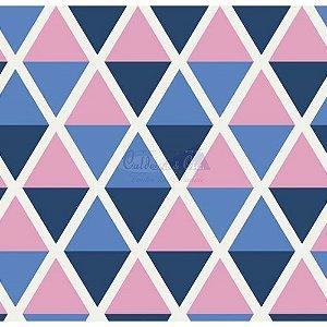 Tricoline Estampado Geométrico Margot - Cor-11 (Rosa com Marinho), 100% Algodão, Unid. 50cm x 1,50mt