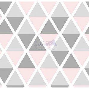 Tricoline Estampado Geométrico Margot - Cor-10 (Cinza com Rosa), 100% Algodão, Unid. 50cm x 1,50mt