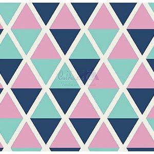 Tricoline Estampado Geométrico Margot - Cor-09 (Tiffany com Marinho), 100% Algodão, Unid. 50cm x 1,50mt