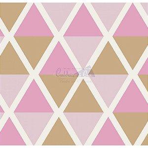 Tricoline Estampado Geométrico Margot - Cor-06 (Rosa com Marrom), 100% Algodão, Unid. 50cm x 1,50mt
