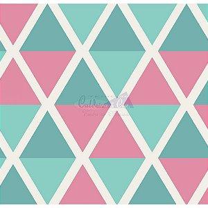 Tricoline Estampado Geométrico Margot - Cor-05 (Tiffany com Rosa), 100% Algodão, Unid. 50cm x 1,50mt