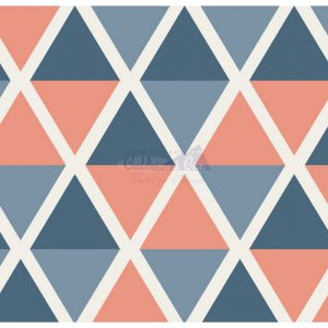 Tricoline Estampado Geométrico Margot - Cor-01 (Jeans), 100% Algodão, Unid. 50cm x 1,50mt