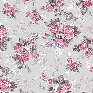 Tricoline Estampado Floral Iris - Cor-14 (Cinza com Rosa), 100% Algodão, Unid. 50cm x 1,50mt