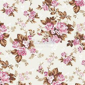 Tricoline Estampado Floral Iris - Cor-13 (Rosé), 100% Algodão, Unid. 50cm x 1,50mt